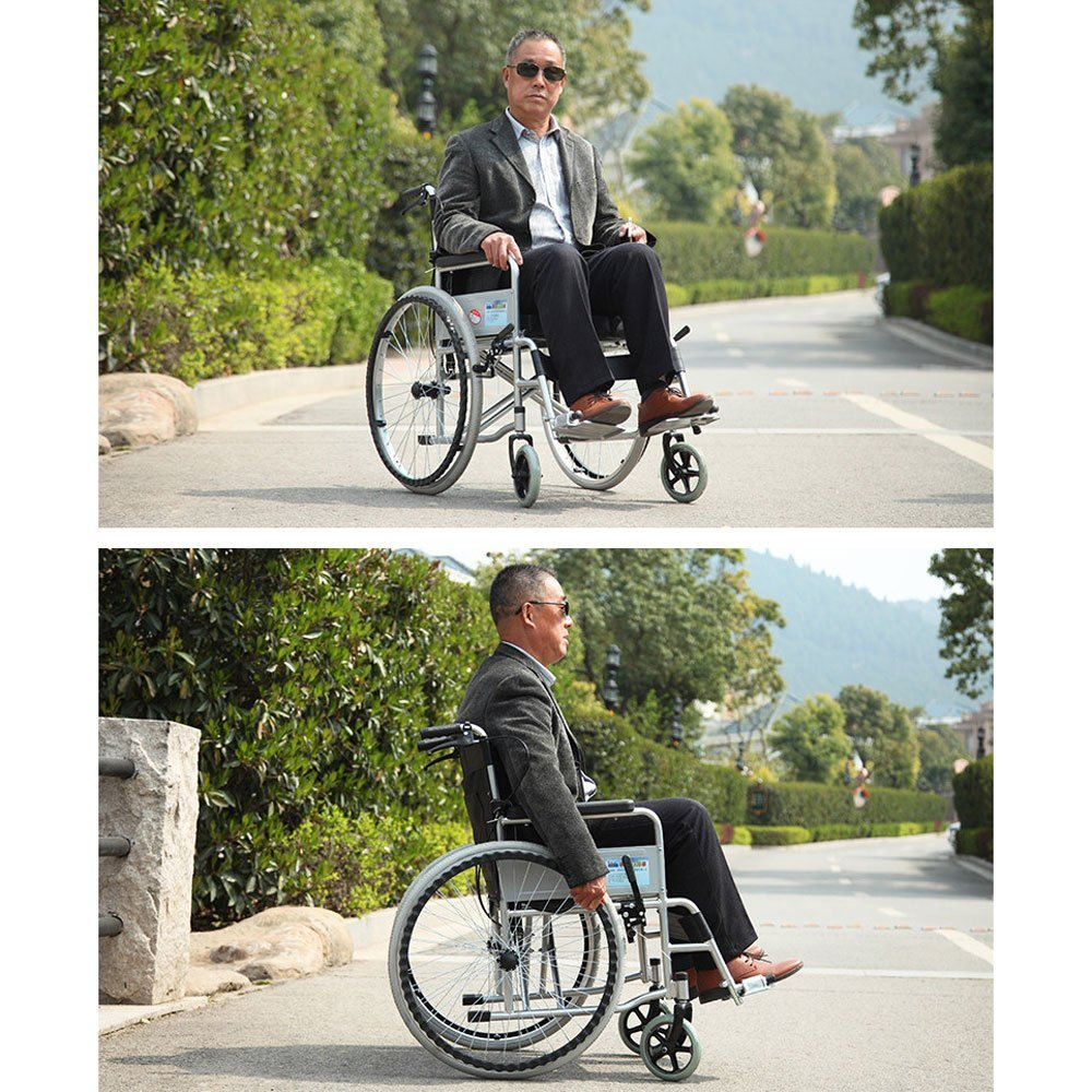 Amazon.com: Sillón de ruedas MS – ligero plegable para ...