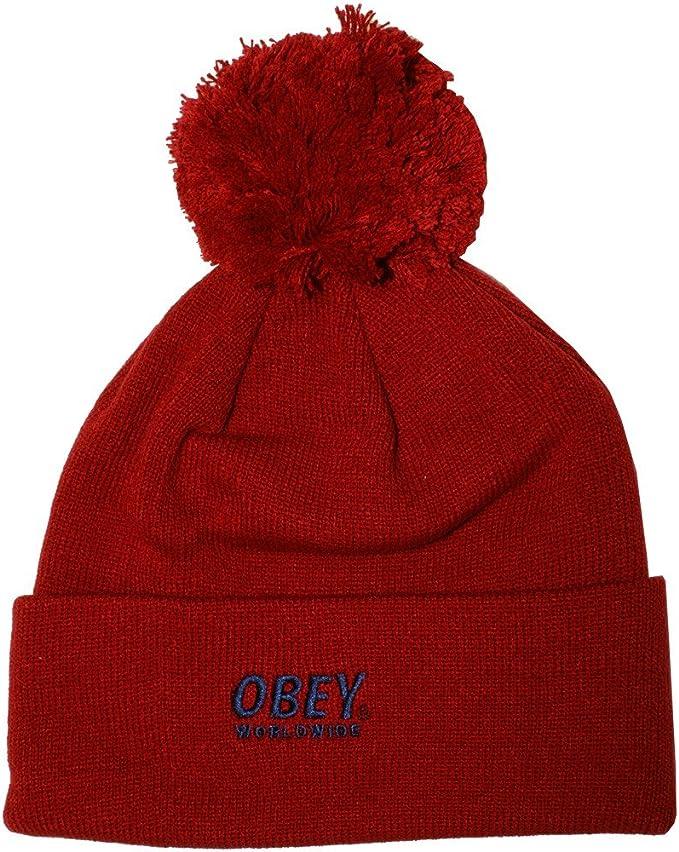 OBEY – Gorro para hombre Worldwide Pom Pom Beanie – Red: Amazon.es ...