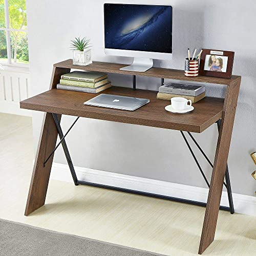 HSH Rustic Computer Desk, Vintage Metal and Wood Writing Desk, Industrial Soho Study Table for Home Office, Brown 47 inch