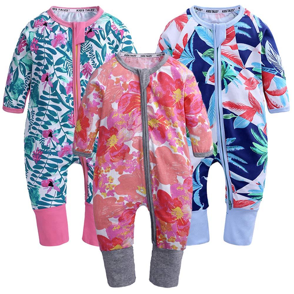 Kids Tales 3 Pack Baby Girls Footies Pajama Sleeper Cotton Graphic Zipper Romper by Kids Tales