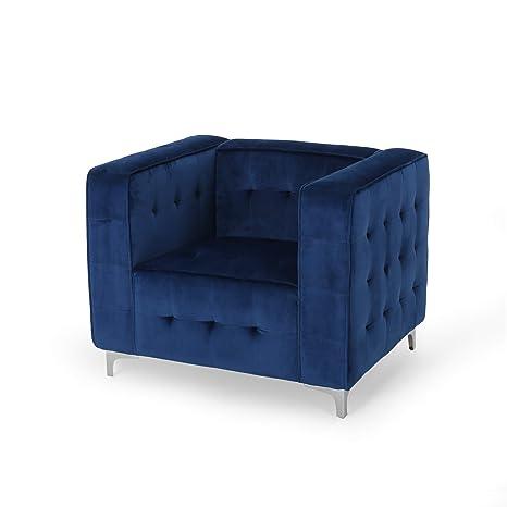 Astonishing Amazon Com Laura Modern Glam Velvet Cube Club Chair Navy Dailytribune Chair Design For Home Dailytribuneorg