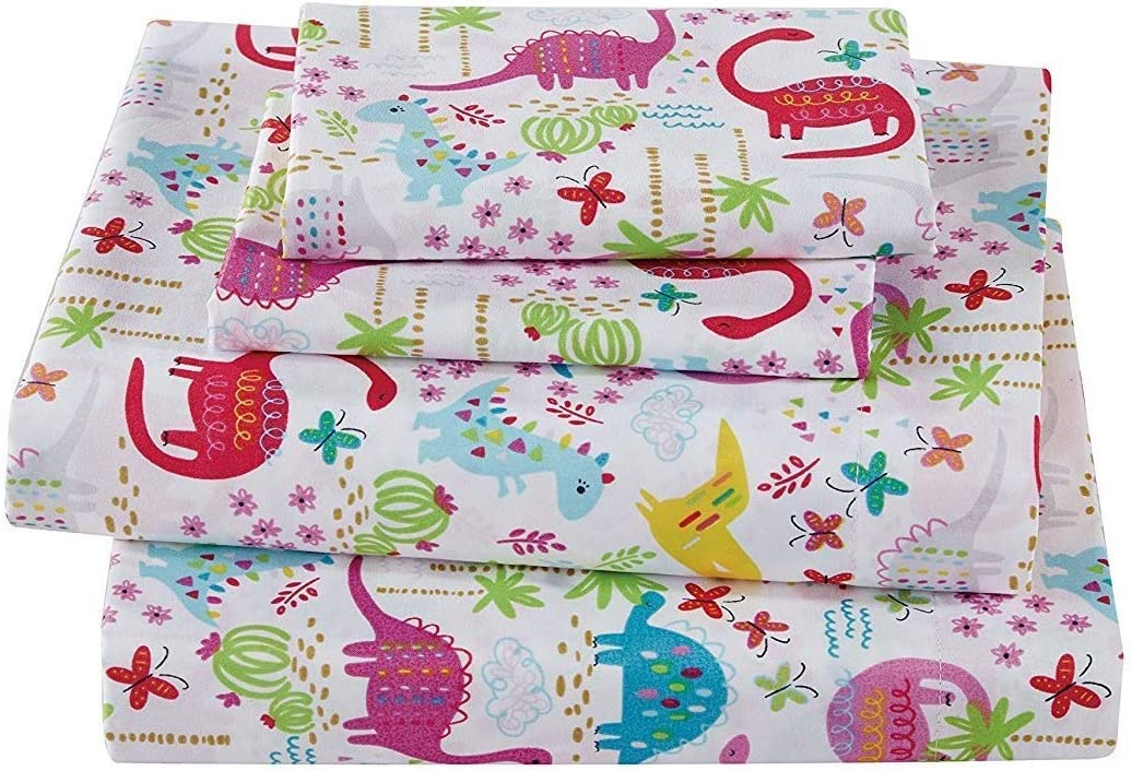 Elegant Home Pink White Blue Green Purple Dinosaurs Jurassic 4 Piece Printed Sheet Set with Pillowcases Flat Fitted Sheet for Girls/Kids/Toddlers (Dinosaur Pink, Queen)