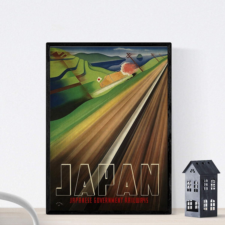 Nacnic Poster Vintage. Cartel Vintage de Asia. Tren de Japón. Tamaño A3: Amazon.es: Amazon.es