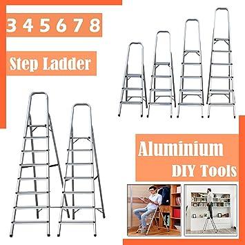 SiKy Escalera de 3 peldaños, antideslizante, segura, portátil, escalera plegable de aluminio resistente con capacidad de 150 kg: Amazon.es: Bricolaje y herramientas