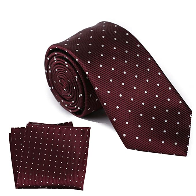 8324a261a03f Image Unavailable. Image not available for. Color: The Smart Man Men's  Burgundy and White Polka Dot Silk Necktie ...
