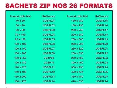 Lot 100 sachets /à fermeture zip format 40 x 60 mm 4 x 6 cm 50 microns pr/él/èvement aux normes europ/éennes de production plastique pochettes qualit/é alimentaire