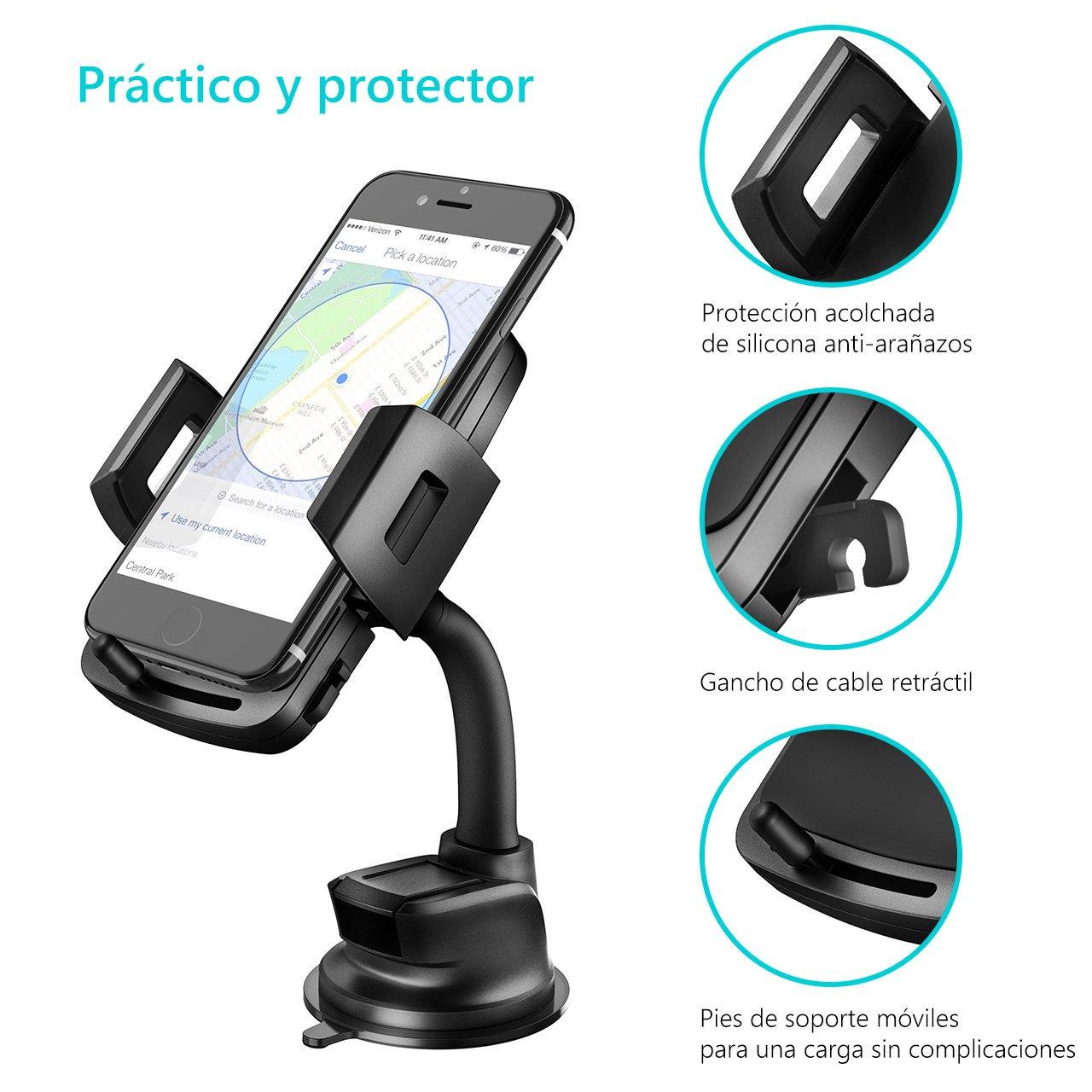 VicTsing Soporte Movil para Coche, Soporte y Montaje Universal con Ventosa y Brazo Ajustable Gira 360º para Todo el Tamaño del Teléfono (Negro): Amazon.es: ...