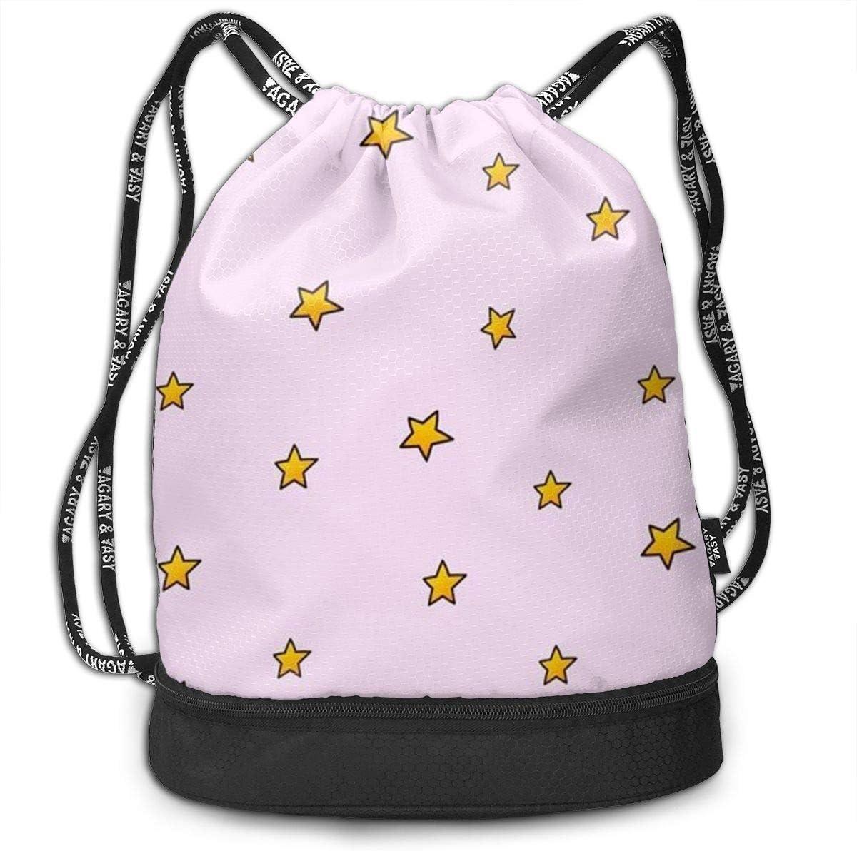 HUOPR5Q Stars Drawstring Backpack Sport Gym Sack Shoulder Bulk Bag Dance Bag for School Travel