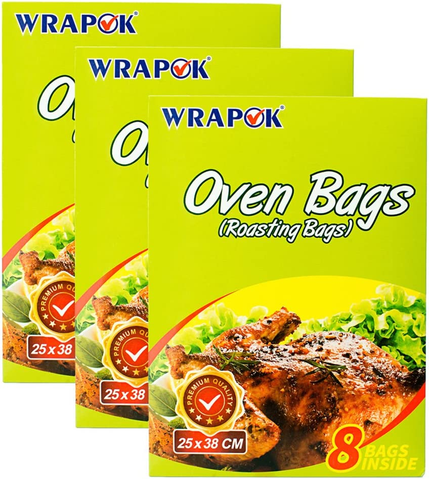 WRAPOK Oven Cooking Turkey Bags Small Size Ribs Baking Roasting Bags No Mess For Chicken Meat Ham Poultry Fish Seafood Vegetable - 24 Bags (10 x 15 Inch)