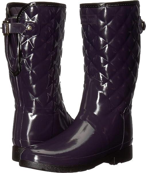 10ece90e4e05 Hunter Women s Refined Gloss Quilt Short Rain Boots Aubergine 5 ...