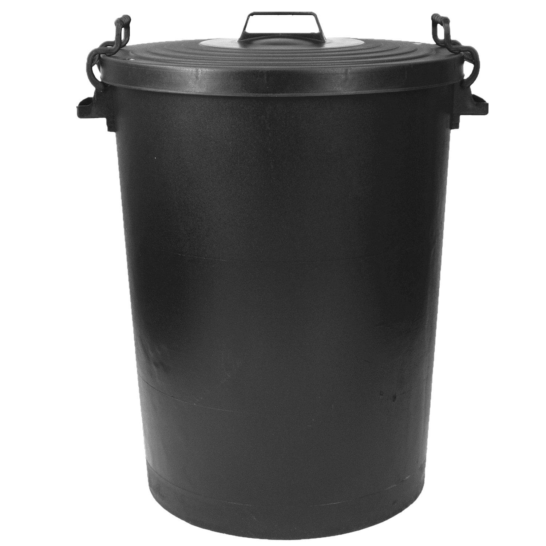 110L Black Plastic Bin Metal Handles Storage Bin Animal Feed Rubbish Indoor Outdoor Anything4Home