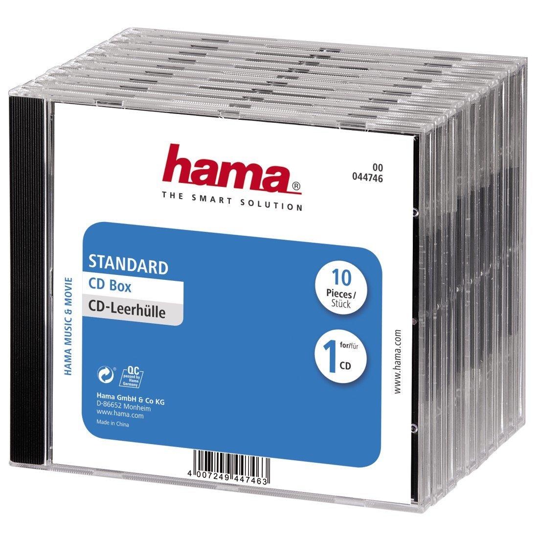 Hama 44746 - Carcasa para CD 10 Unidades, Transparente