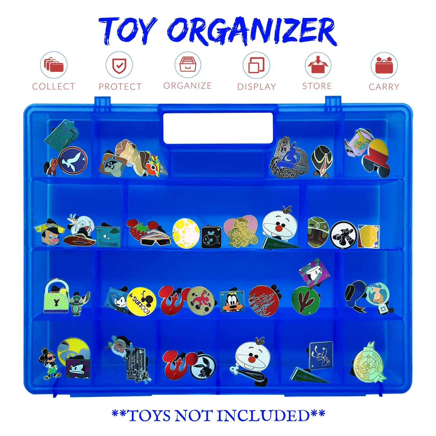Carrying /& Storage Solution Organizer not Created by Disney Life Made Better Accessories Made by LMB Compatible with Disney Pins Blue Collectible Toy Protector Storage Case