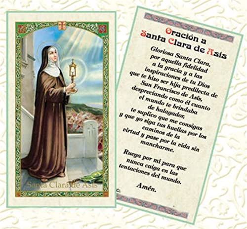 Oracion A Santa Clara De Asis Tarjeta De Rezo Laminada Bendita Por