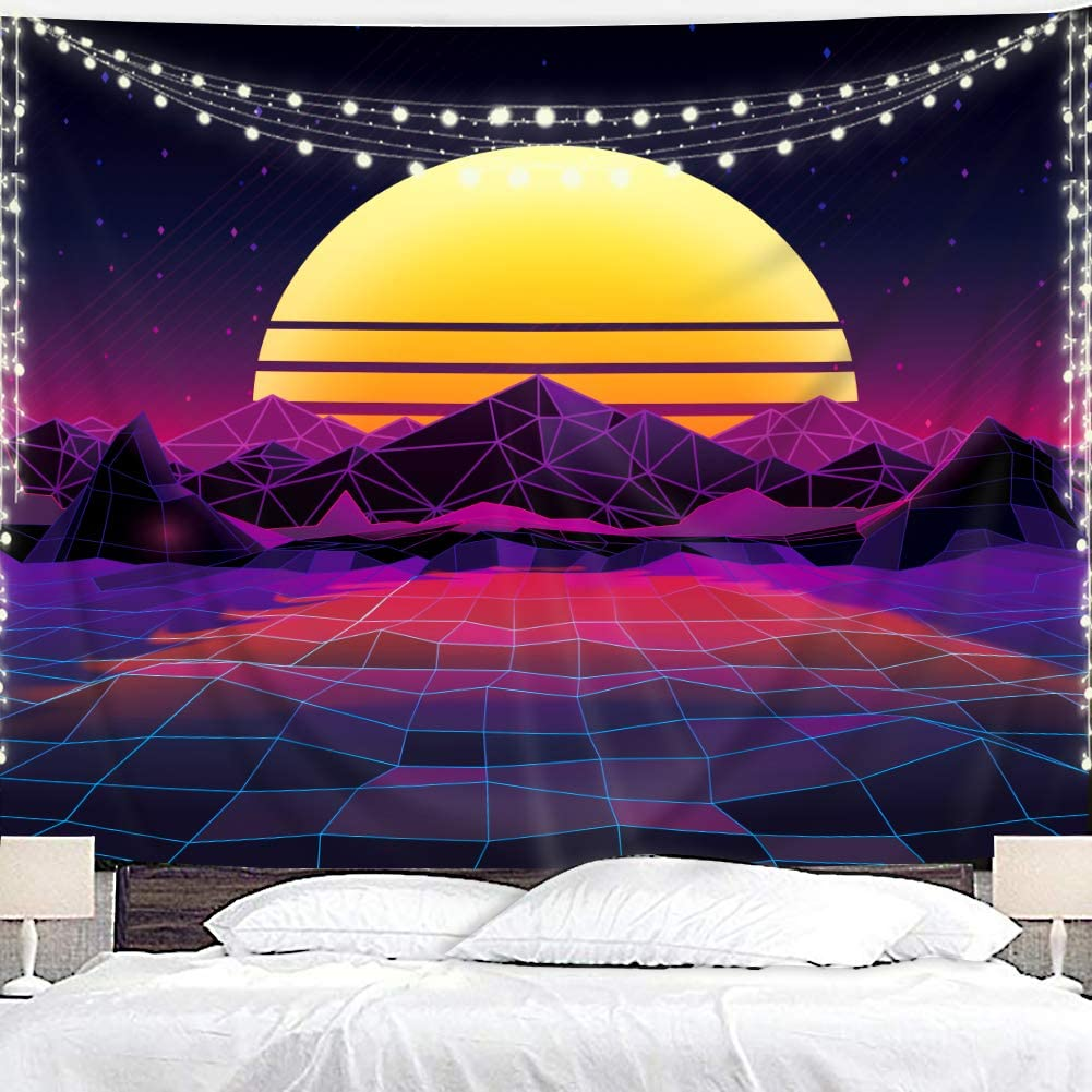Homewelle Retro Sun Mountain Tapestry 59Wx51L Inch 80s Abstract Purple Geometric Wave Trippy Modern Cool Art Wall Hanging Bedroom Living Room Dorm Decor Fabric