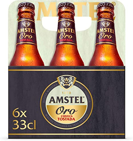 Amstel Oro Cerveza - Pack de 6 Botellas x 330 ml (Total: 1.98 L ...