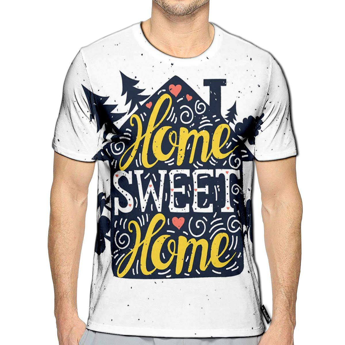 Randell 3D Printed T-Shirts Home Sweet Home Short Sleeve Tops Tees