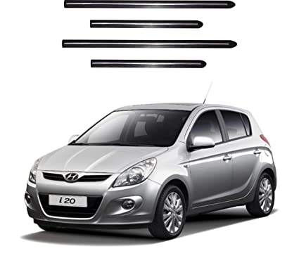Trigcars Hyundai I20 Old Car Side Beading With Chrome Line Set Of