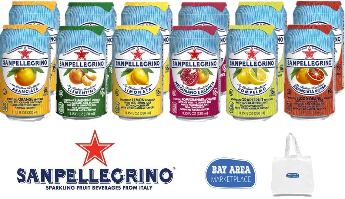 SAN PELLEGRINO ORIGINAL VARIETY TASTERS ADDITION (all Original Varieties Included) 12 Cans in all. Bay Area Marketplace Tote Bag Included by Bay Area Marketplace