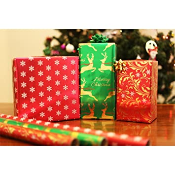 premium foil christmas holiday wrapping paper rolls pack of 3 rolls 120sqft extra width christmas - Elegant Christmas Wrapping Paper