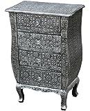 Chaandhi Kar Black-Silver Embossed 4-Draw Bedside Cabinet