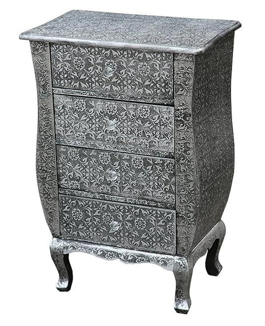 Chaandhi Kar Black-Silver Embossed 4-Draw Bedside Cabinet: Amazon ...