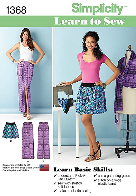 Simplicity 1368 Size A Misses Learn To Sew Skirts With Elastic