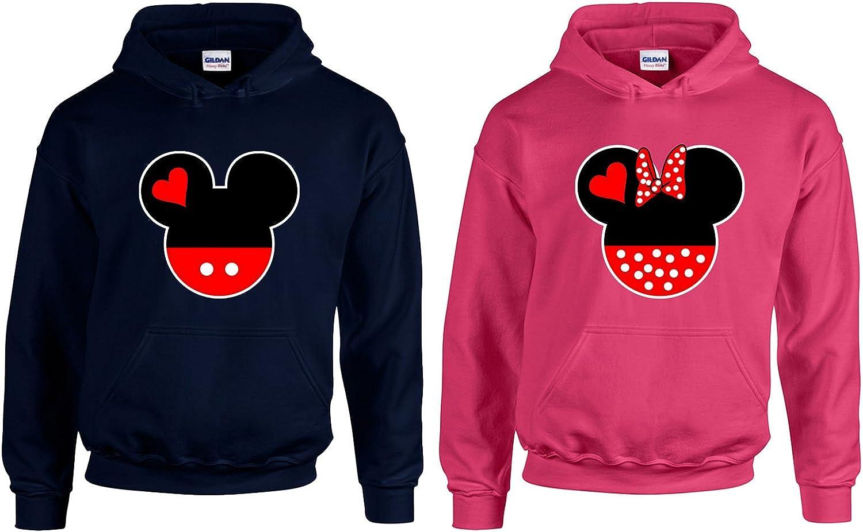 Navy-Pink,Men-S//Women-S CAMALEN Minnie /& Mickey Head Love Most Popular Hoodie Hooded Sweatshirt 2