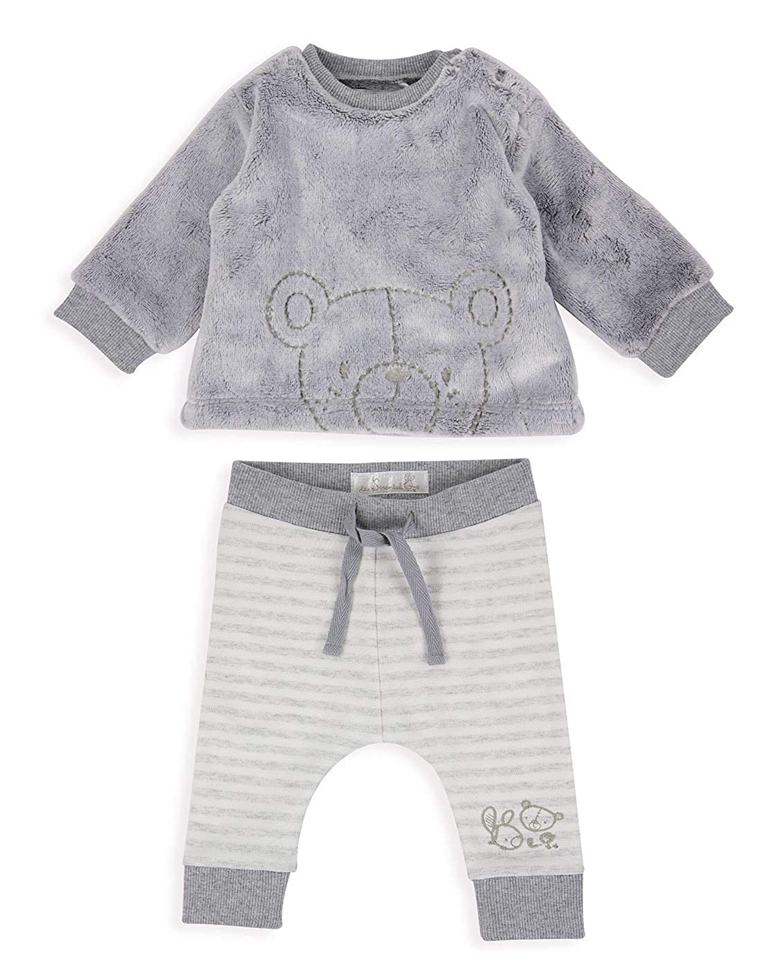 The Essential One - Baby Unisex Bär Hose/Legging & Fleece Top-Set - Grau/Creme - TESS28