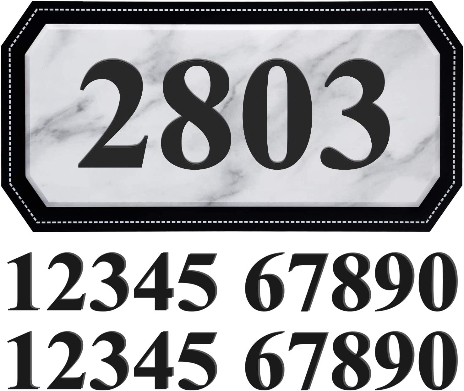 House Address Plaques Mailbox Number Personalized Address Signs for House Home Hotel Office Garden Decorative Wall Plaque (Marble)