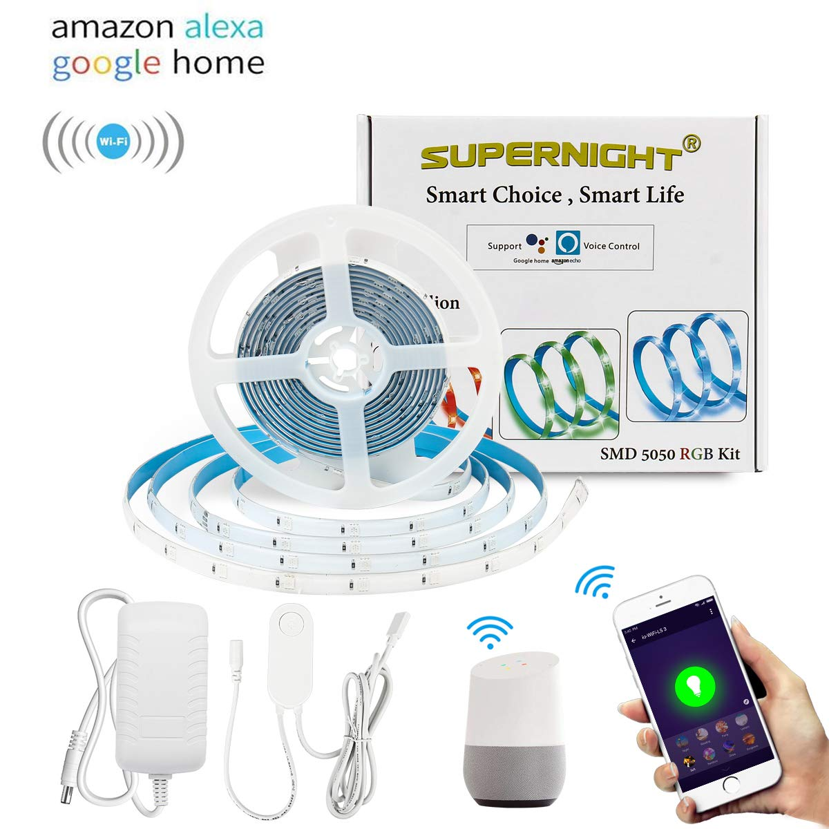SUPERNIGHT Smart LED Strip Light, Compatible with Alexa & Google Super Bright WiFi Smartphone Controlled Waterproof Color Changing 16.4ft 5050 RGB Tape Light UL-Listed Power Supply, Voice Controller