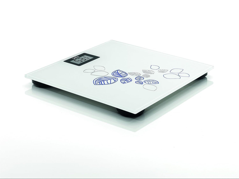 Laica PS1058B - Báscula de baño de cristal, electrónica, capacidad 150 kg, color flores azul: Amazon.es: Salud y cuidado personal