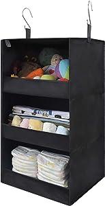 "GRANNY SAYS 3-Shelf Hanging Closet Organizer, Collapsible Closet Hanging Shelves, Nursery Hanging Organizer, Black, 23.6"" H X 12.2"" W X 12.2"" D"