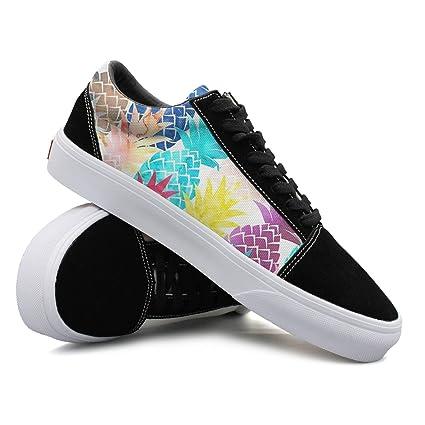Hawaiian Pineapple Pattern Tropical Watercolor Women Casual Shoes Skateboard Slip On Low Top Designer