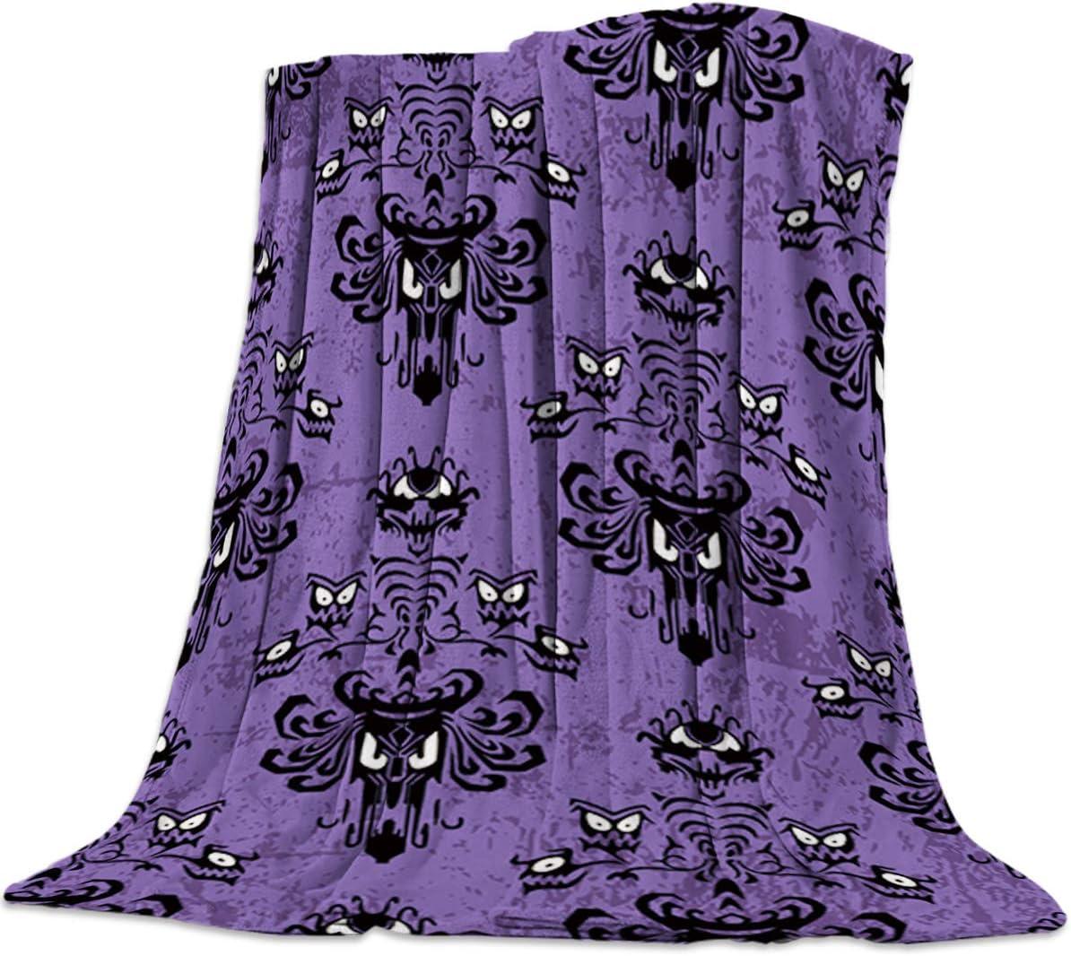 "T&H Home Flannel Fleece Bedding Blanket - 60""x80"" Haunted Mansion - Grim Grinning Ghosts Anime Weighted Camp Throw Blanket for Baby Kids Boy Girls Men Women"