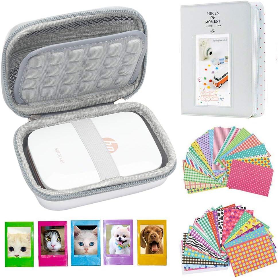 Cpano Conjunto de Accesorios para HP Sprocket Impresora portátil de Fotos/Polaroid Zip Caja de Funda Protectora para Impresora móvil. (Plata láser)