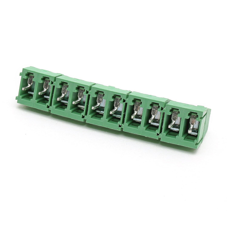 500PCS Suyep Conector del bloque de terminales del tornillo de 2Pin 300V 10A 5.0mm KF128-5.0-2P Hierro verde