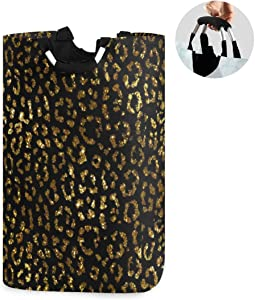 ALAZA Large Laundry Hamper Basket Gold Leopard Print Cheetah Laundry Bag Collapsible Oxford Cloth Stylish Home Storage Bin with Handles, 22.7 Inch