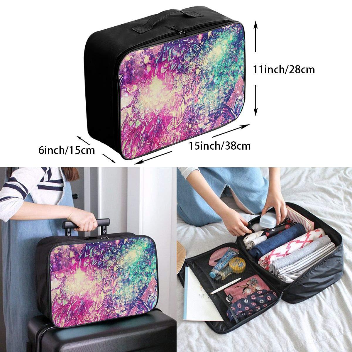 Travel Luggage Duffle Bag Lightweight Portable Handbag Galaxy Owl Pattern Large Capacity Waterproof Foldable Storage Tote