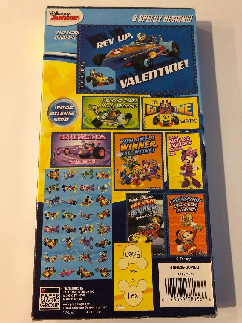 Disney Junior Mickey and the Roadster Racers Eight Speedy Designs on 32 Valentines with 32 Speedy Design stickers Paper Magic Group inc.