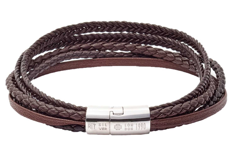 Tateossian Cobra Italian Leather Multi Strand Bracelet - Brown, Medium 18cm by Tateossian (Image #2)