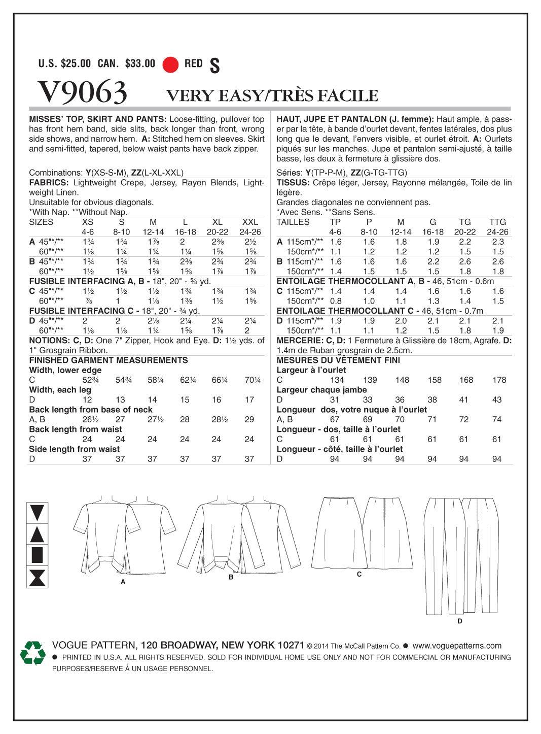 Vogue V9063 costura para confeccionar blusas, trajes, vestidos, moda, VGE 9063 ZZ (LRG-XXL) Deu. Gr. 42-50: Amazon.es: Hogar