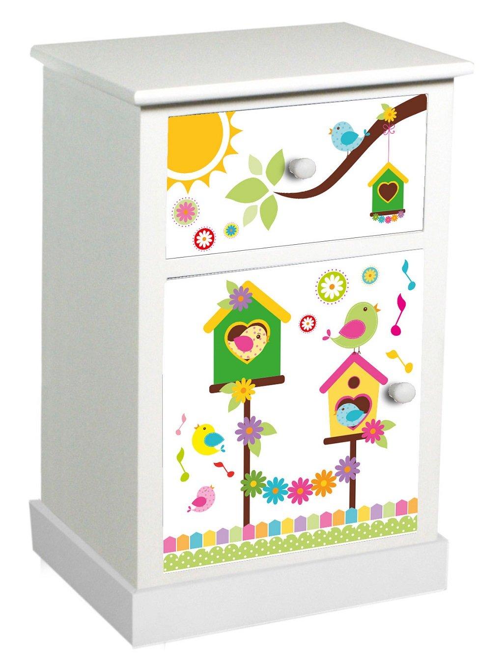 SAVINO FILIPPO SRL Mobile comodino Happy bianco in legno 1 cassetto e anta con decoro uccellini colorati contenitore a torre porta tutto per camera bimbo corridoio salotto cucina bagno ripostiglio