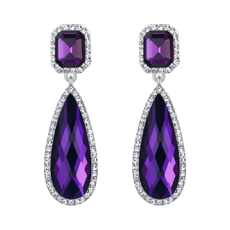 Purple Amethyst Gemstone Elongated Teardrop Dangle Earrings Sterling Silver