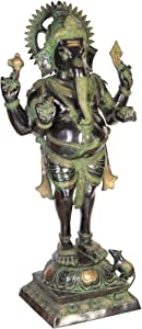 Exotic India Chaturbhuja Standing Ganesh Home Décor Ganesha Brass Statue, Multi Color
