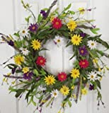 Keep Smiling Cheerful Daisy Door Wreath 22 Inches Handmade Decorative Wreath With Yellow, Pink, Purple And White Daisies