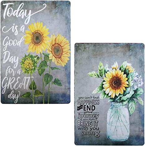 Rustic Barn Sunflower Tin Sign