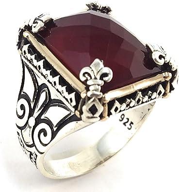 De Lujo turco hecho a mano piedra de rubí rojo de plata esterlina 925 Anillo hombres nos Todas Las Tallas