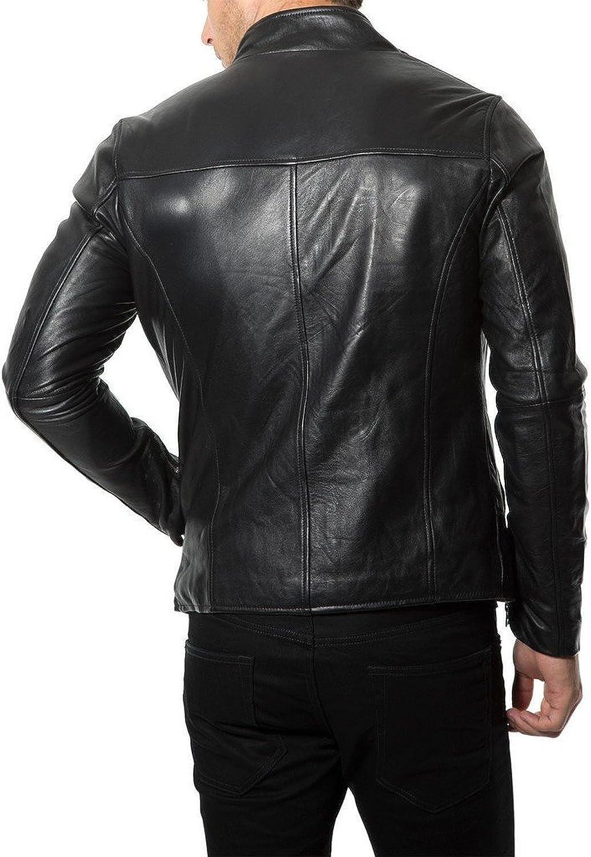 New Mens Leather Jacket Slim Fit Biker Motorcycle Genuine Leather Coat T570