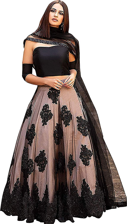 c3ab3d7606 Rudra Fashion Women's Semi-Stitched Anarkali Style Lehenga choli  (Black_Free Size) product image